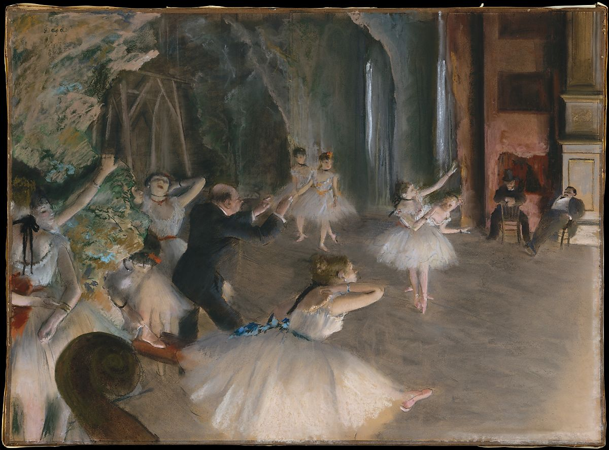リハーサルオンステージ、エドガードガ(フランス、パリ1834〜1917パリ)、パステルブラシとインクで描いた薄いクリーム色の織り紙の上にブリストルボードの上に置き、キャンバスにマウント