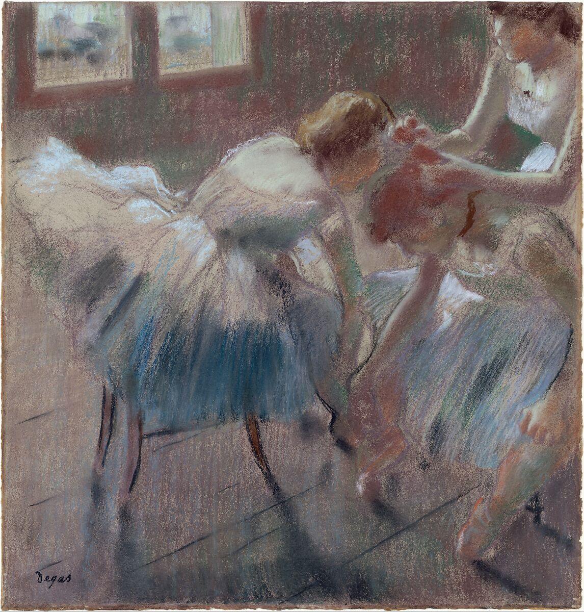 クラスの準備をする3人のダンサー、エドガードガ(フランス、パリ1834〜1917年パリ)、バフ色の織り紙にパステル