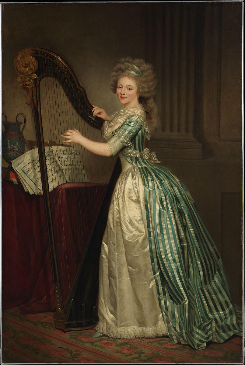 Self-Portrait with a Harp, Rose Adélaïde Ducreux (French, Paris 1761–1802 Santo Domingo), Oil on canvas
