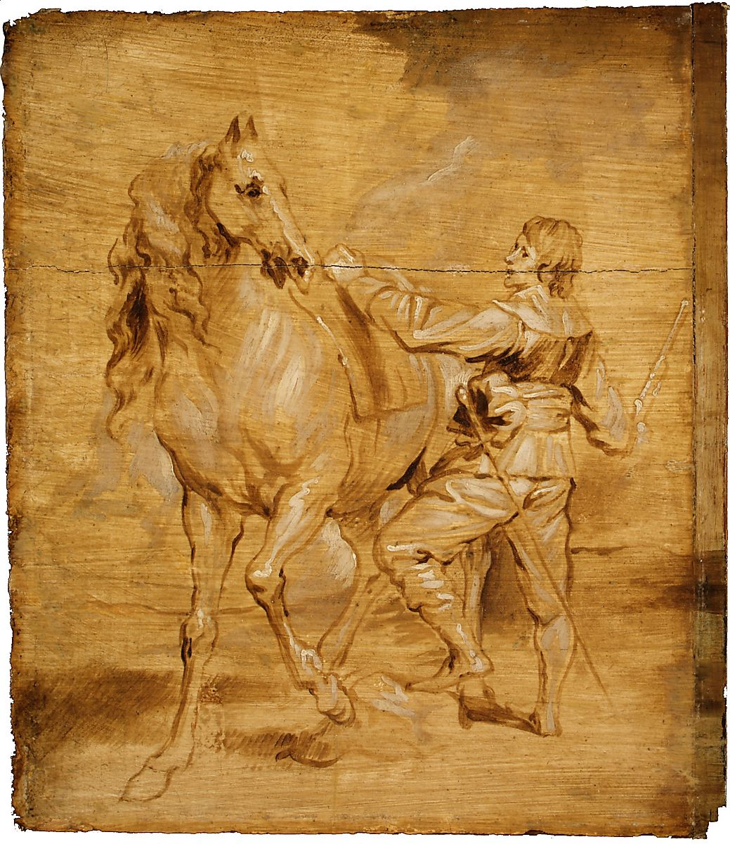 A Man Mounting a Horse, Attributed to Anthony van Dyck (Flemish, Antwerp 1599–1641 London), Oil on wood