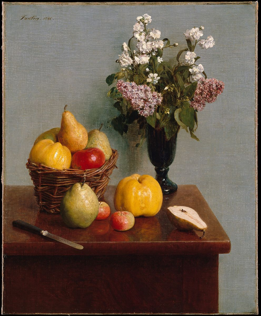 Still Life With Flowers And Fruit Henri Fantin Latour French Grenoble 1836