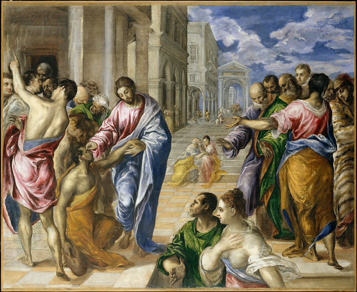 Christ Healing the Blind, El Greco (Domenikos Theotokopoulos) (Greek, Iráklion (Candia) 1540/41â 1614 Toledo), Oil on canvas