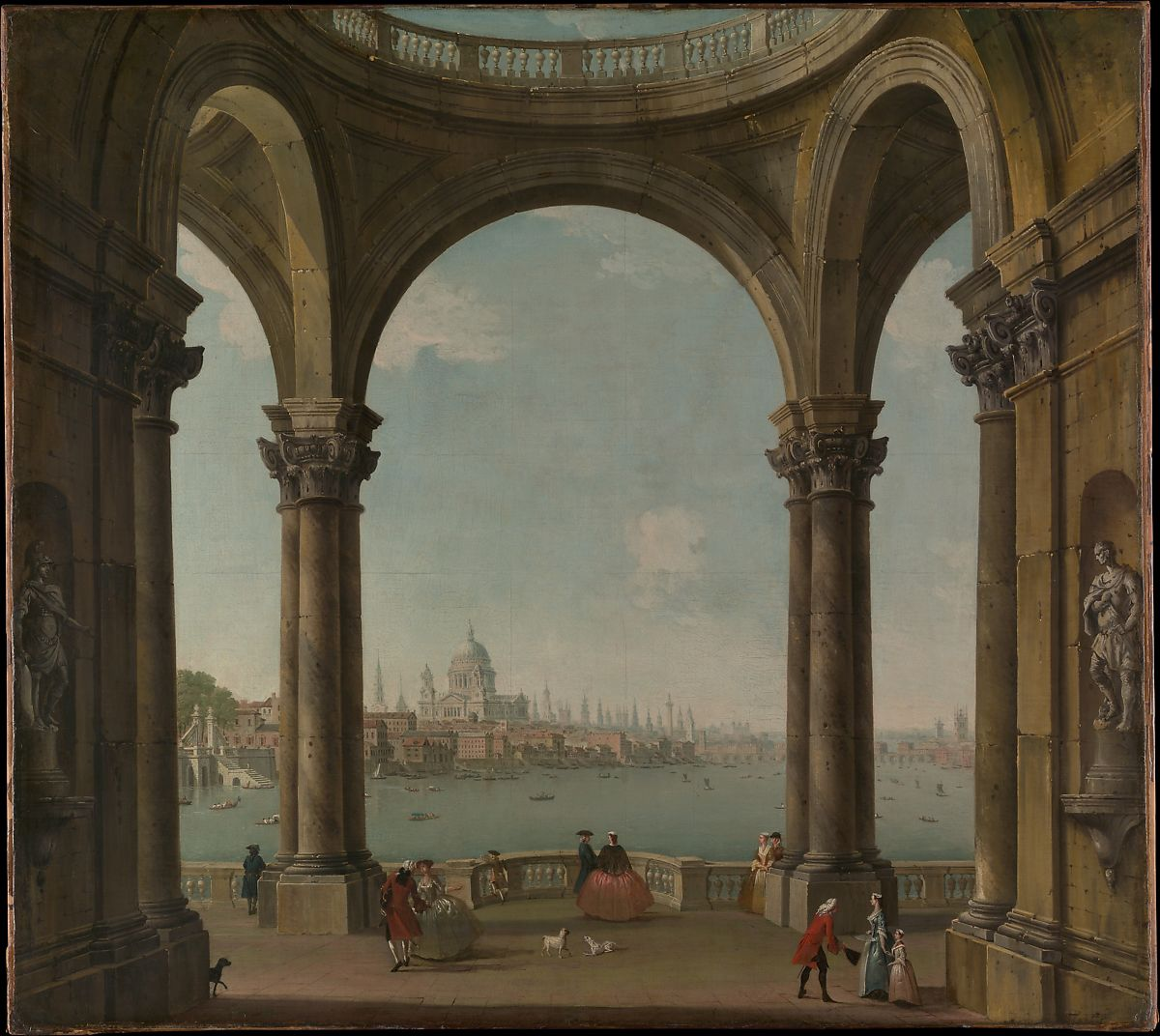 Antonio Joli Capriccio With St Paul S And Old London