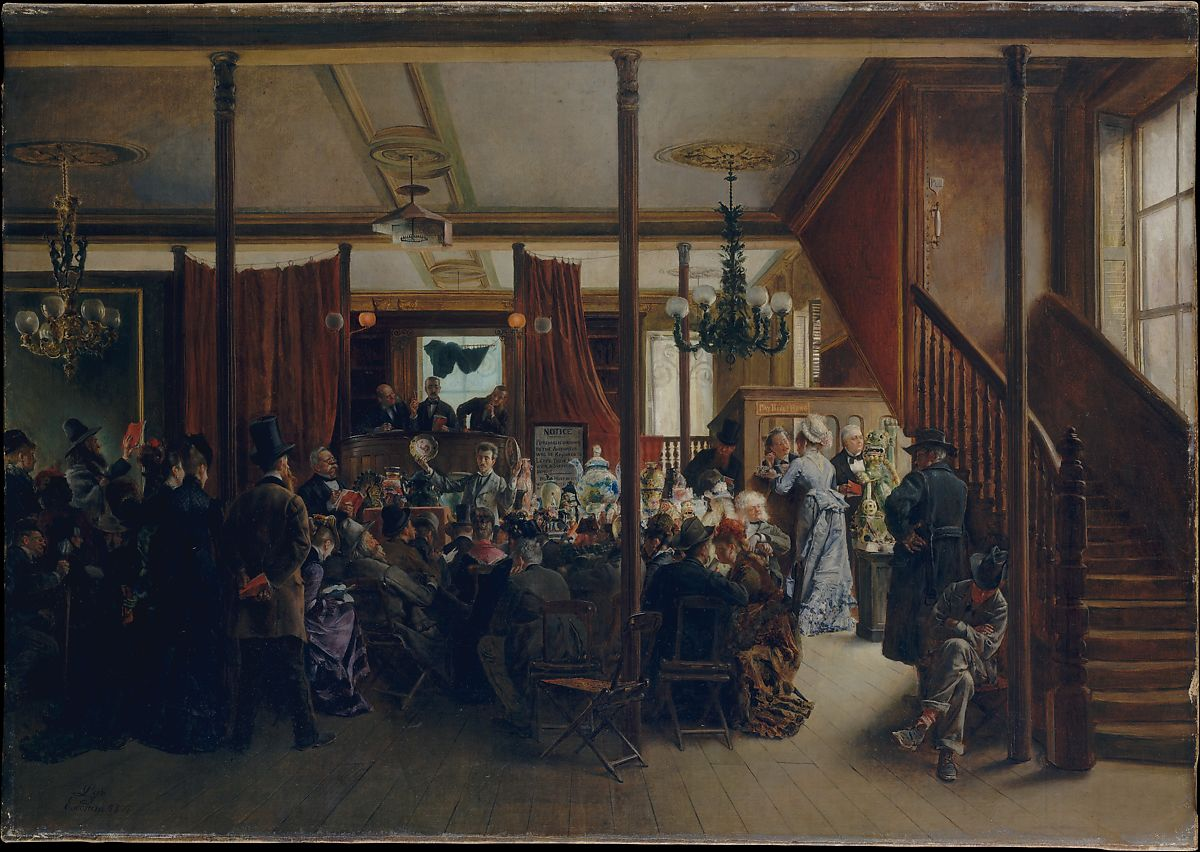Auction Sale in Clinton Hall, New York, 1876, Ignacio de León y Escosura (Spanish, Oviedo 1834–1901 Toledo), Oil on canvas