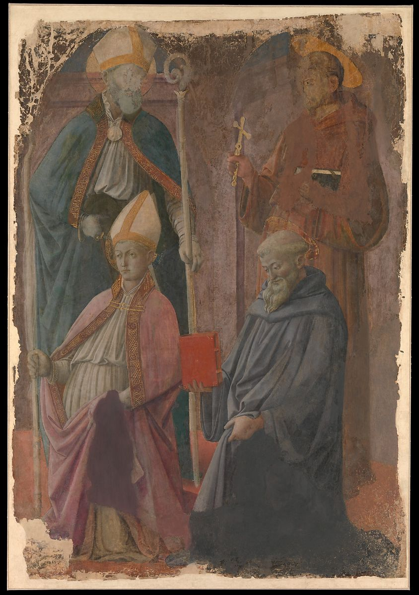 Saints Augustine and Francis, a Bishop Saint, and Saint Benedict Fra Filippo Lippi Italian