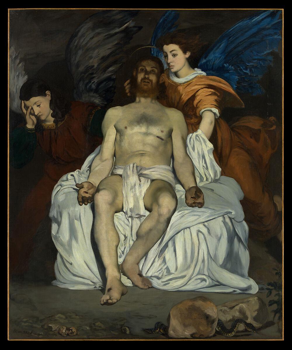 天使のいる死んだキリスト、エドゥアール・マネ(フランス、パリ1832-1883パリ)、キャンバスに油彩