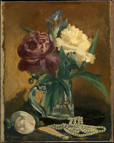 Edouard Manet Still Life With Flowers Fan And Pearls