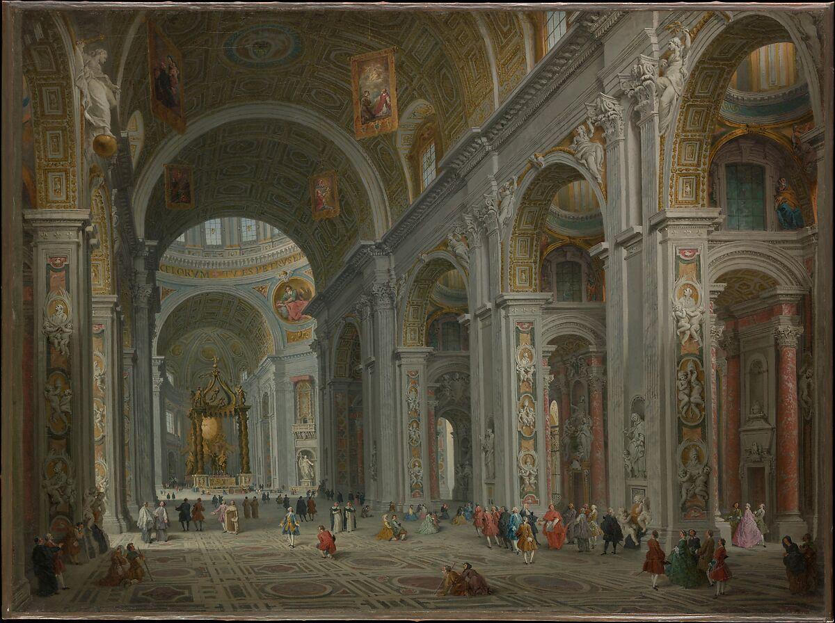 Interior of Saint Peter's, Rome, Giovanni Paolo Panini (Italian, Piacenza 1691–1765 Rome), Oil on canvas