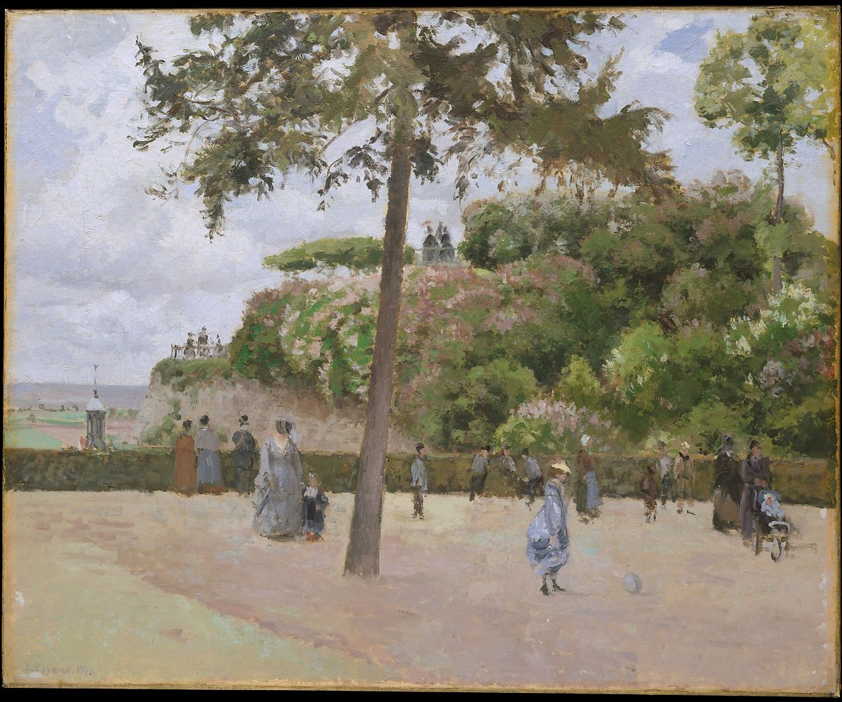 The Public Garden at Pontoise, Camille Pissarro (French, Charlotte Amalie, Saint Thomas 1830–1903 Paris), Oil on canvas