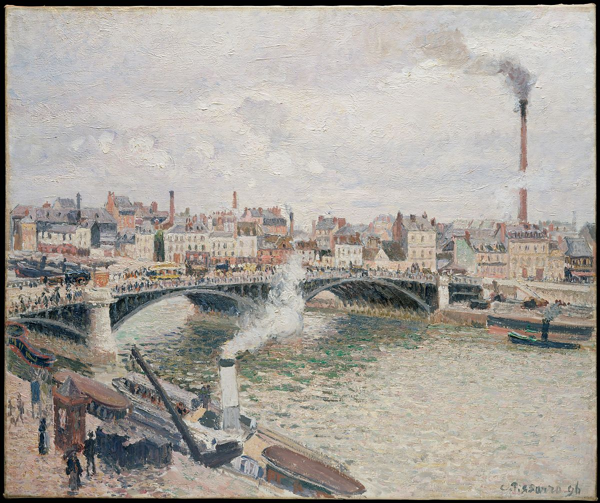 朝、曇りの日、ルーアン、カミーユピサロ(フランス、シャーロットアマリエ、セントトーマス1830〜1903パリ)、キャンバスに油彩