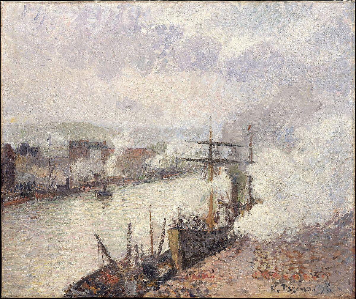ルーアン港の蒸気船、カミーユピサロ(フランス、シャーロットアマリエ、セントトーマス1830〜1903パリ)、キャンバスに油彩