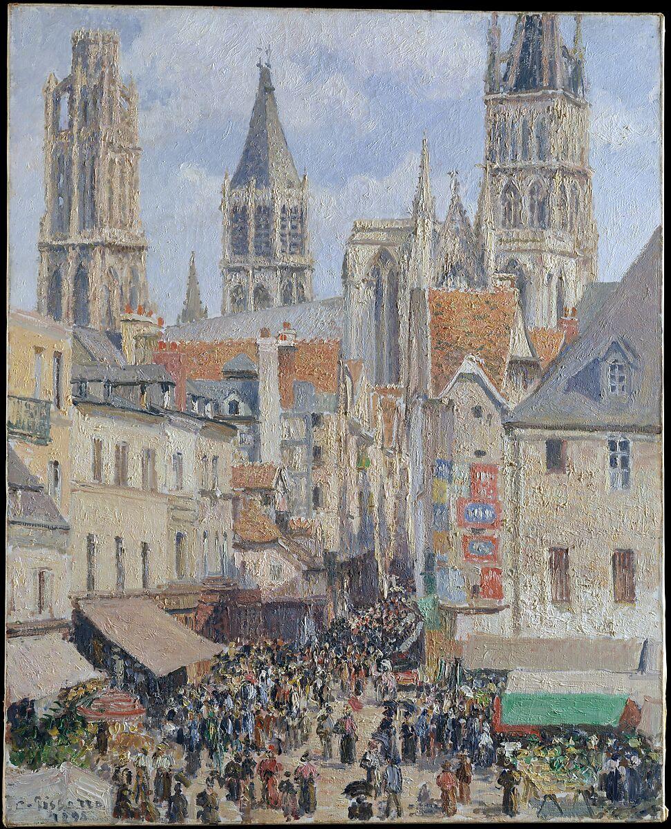 Rue de l'Épicerie、Rouen(Effect of Sunlight)、Camille Pissarro(フランス、Charlotte Amalie、Saint Thomas 1830–1903 Paris)、キャンバスに油彩