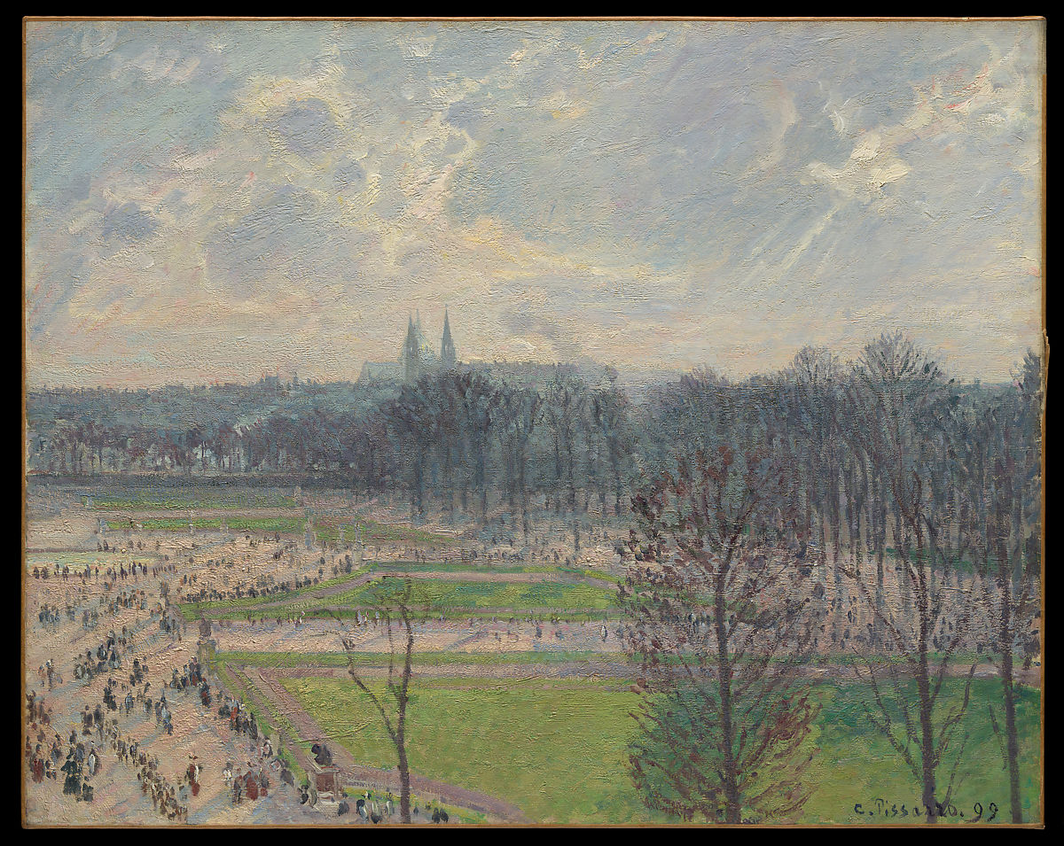 冬の午後のチュイルリー庭園、カミーユピサロ(フランス語、シャーロットアマリエ、セントトーマス1830〜 1903年パリ)、キャンバスに油彩