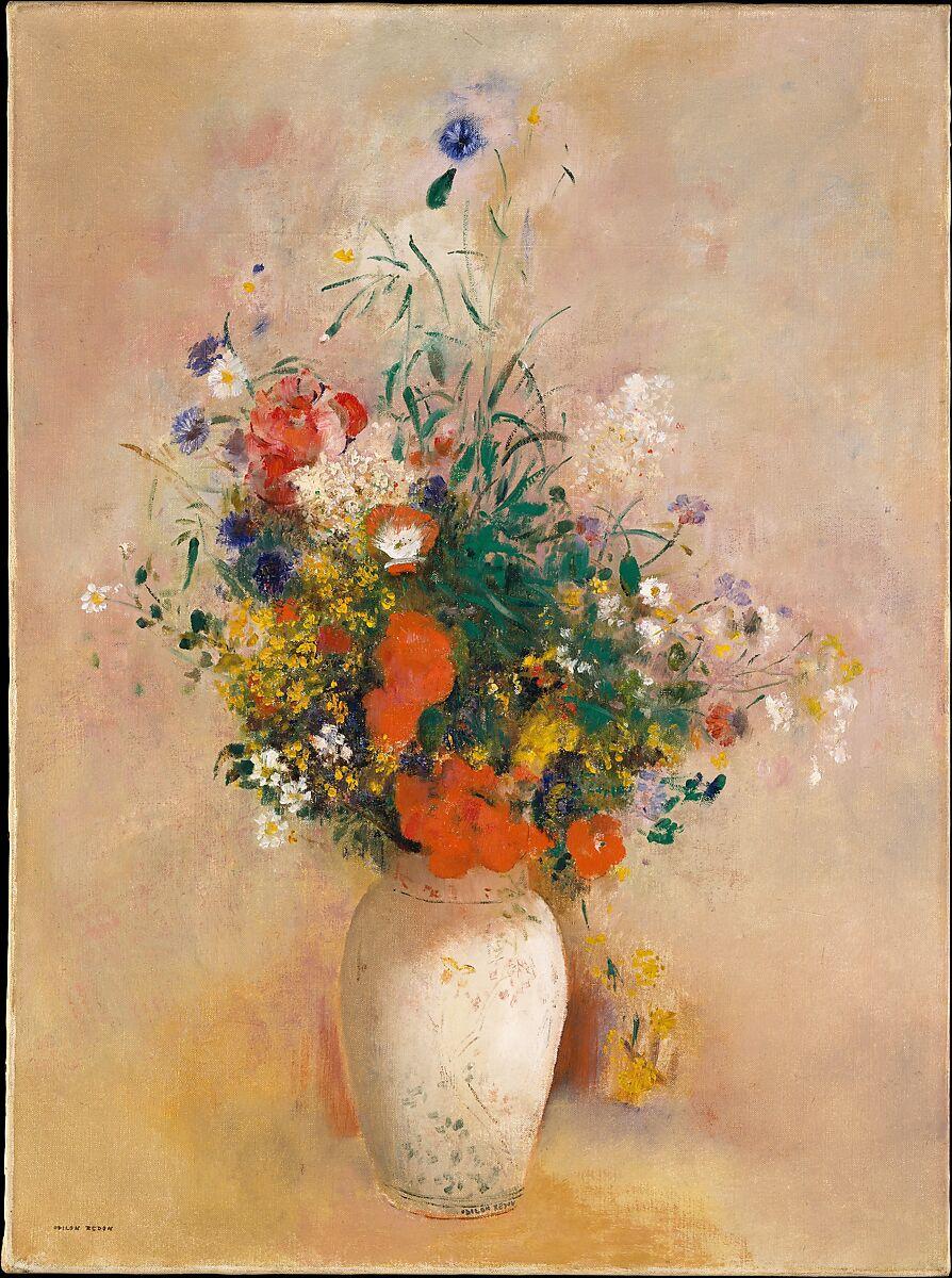 Odilon Redon Vase Of Flowers Pink Background The Met
