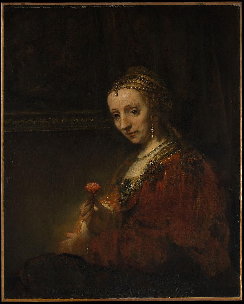 rembrandt rembrandt van rijn woman with a pink the met