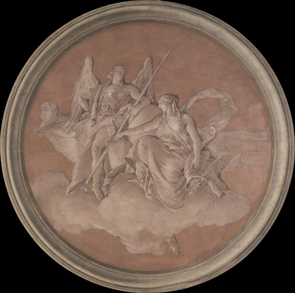 Virtue and Abundance, Giovanni Battista Tiepolo (Italian, Venice 1696–1770 Madrid) and Workshop, Fresco, transferred to canvas