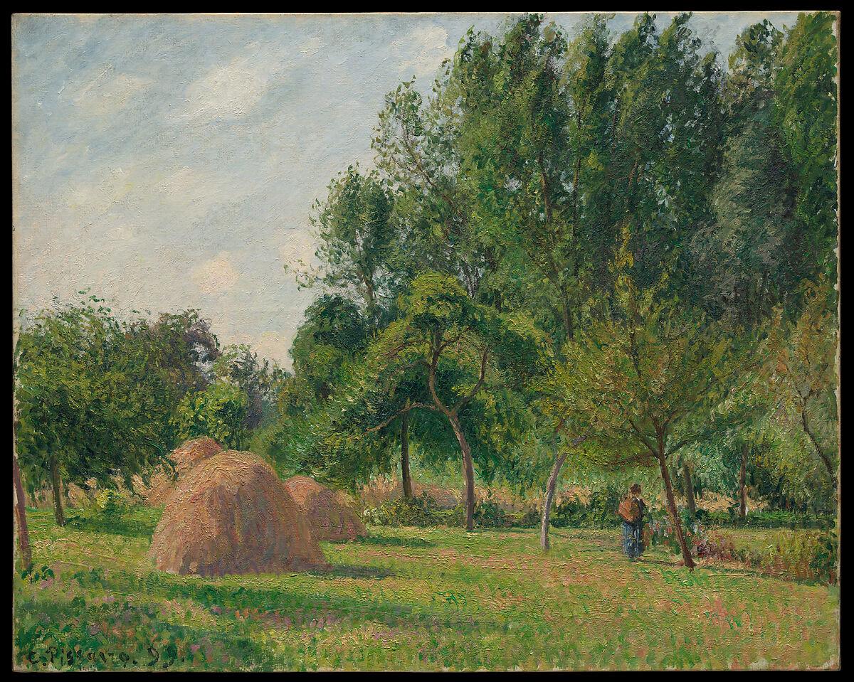 Haystacks, Morning, Éragny, Camille Pissarro (French, Charlotte Amalie, Saint Thomas 1830–1903 Paris), Oil on canvas