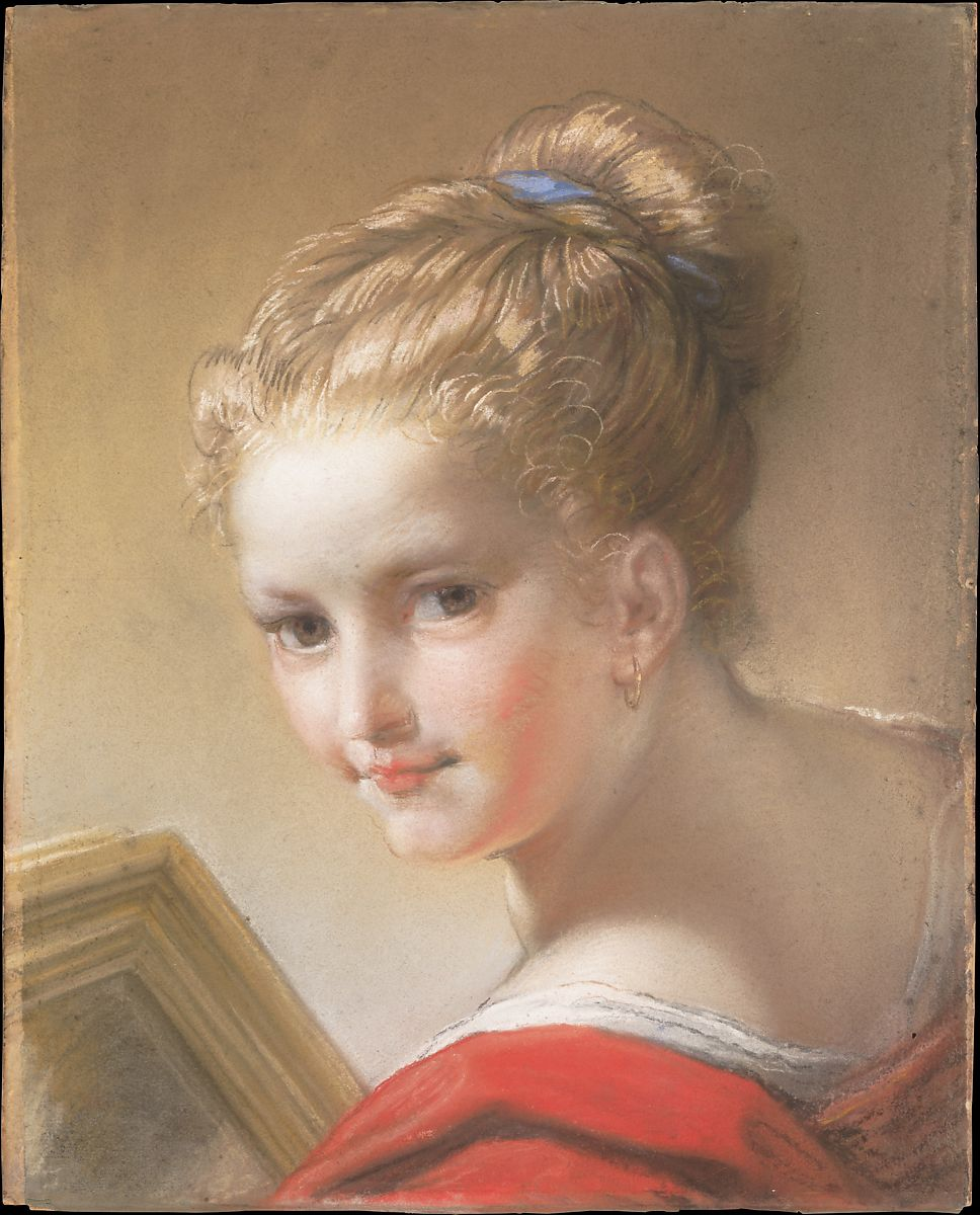 Study of a Girl in Red, Benedetto Luti (Italian, Florence 1666–1724 Rome), Pastel and chalk on blue laid paper, laid down on paste paper