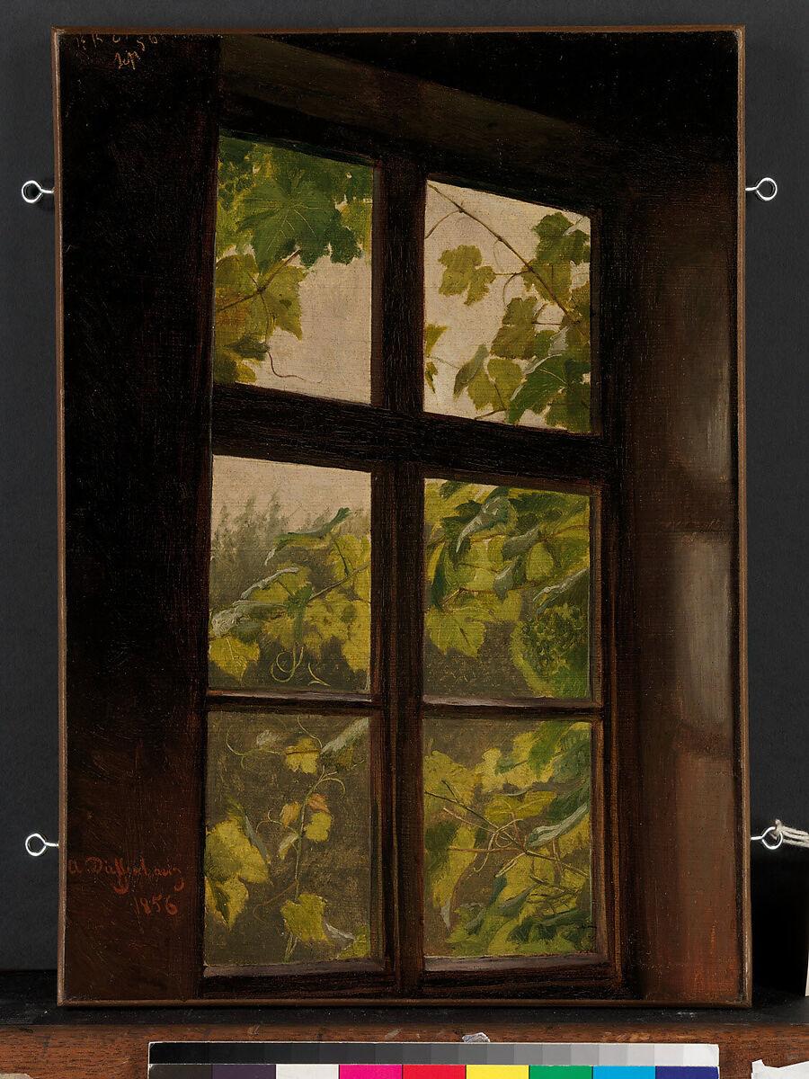 Window, Anton Dieffenbach (German, Wiesbaden 1831–1904 Hohwald), Oil on paper, laid down on canvas