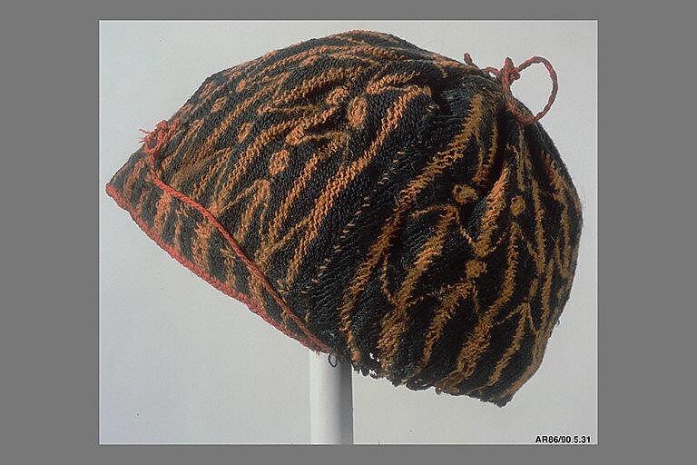 Hat, Wool; sprang technique