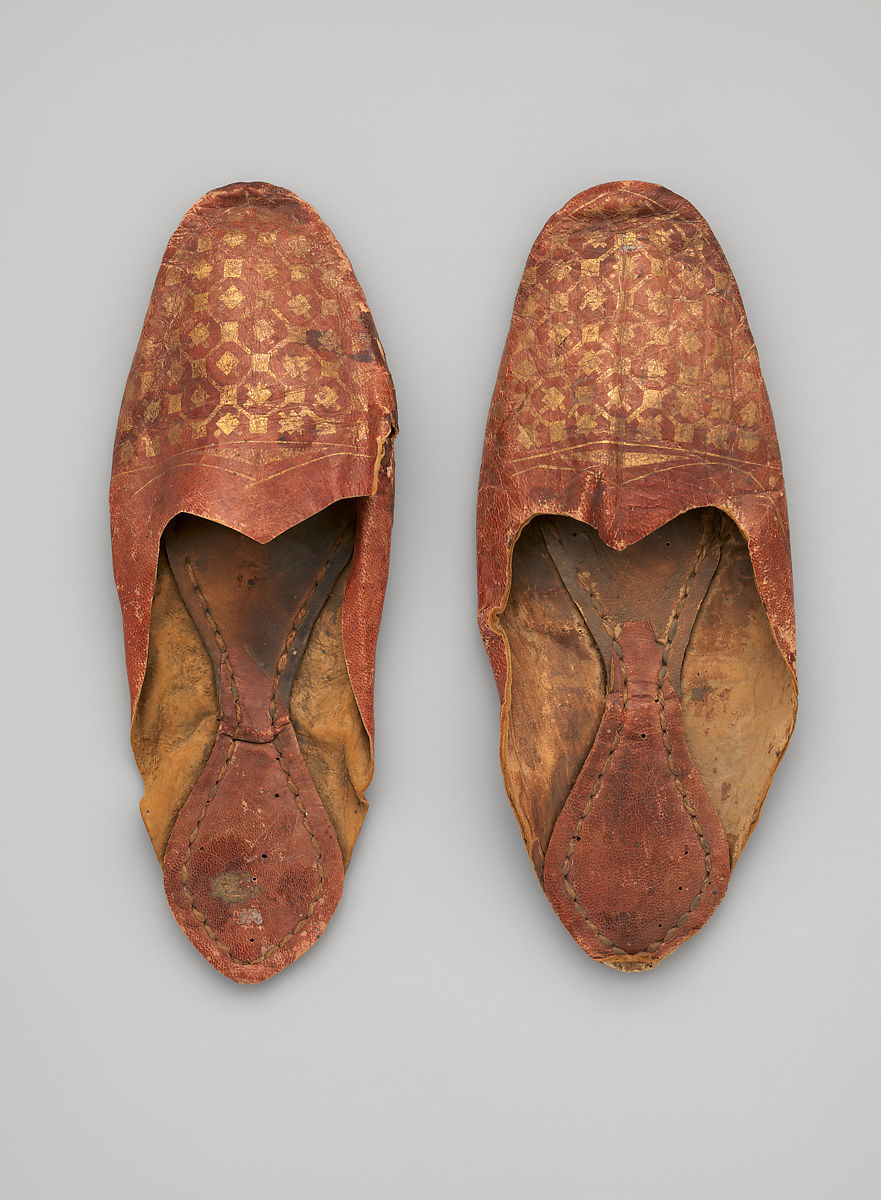 Leather Shoe with Gilded Decoration, Leather; gilded