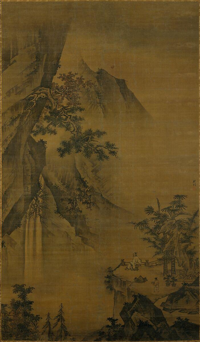 Zhong Li   Scholar looking at a waterfall   China   Ming dynasty ...