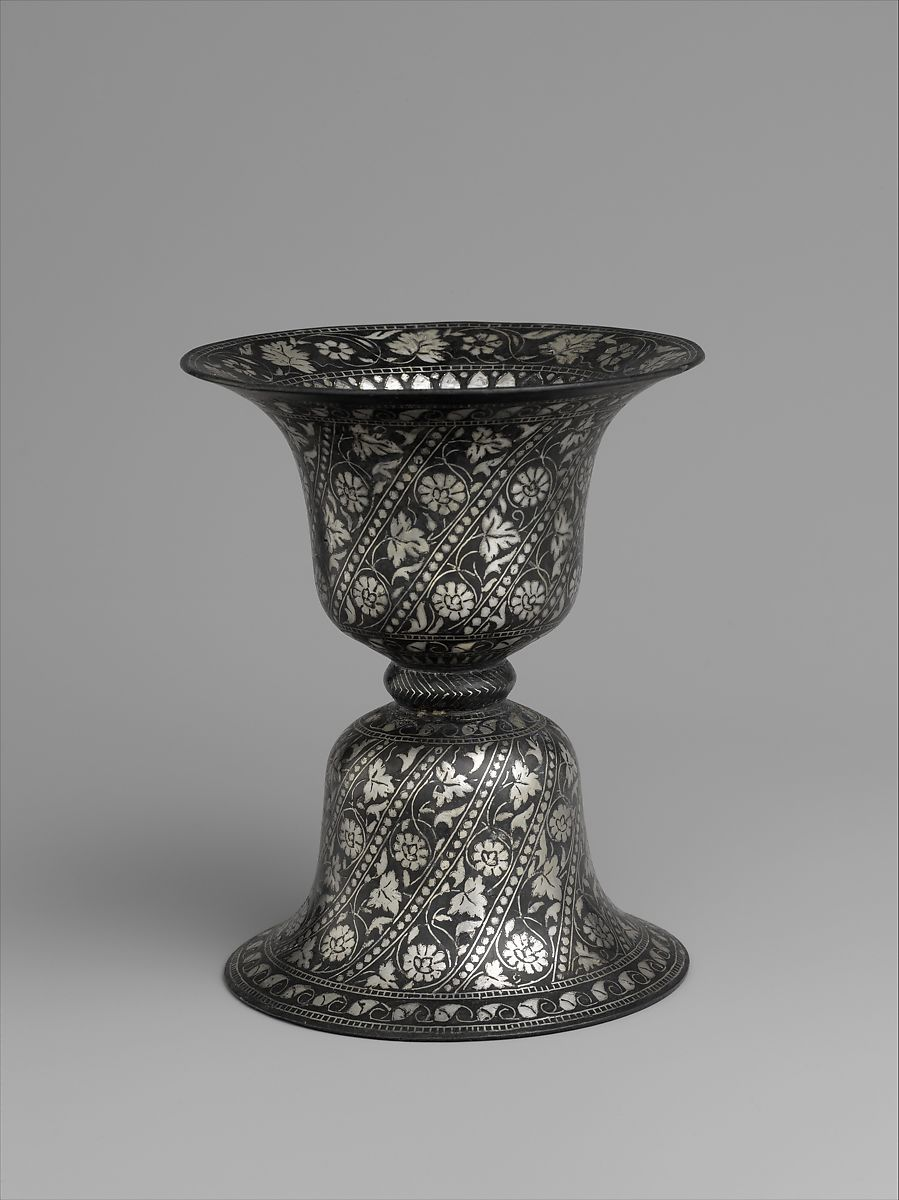 Spittoon in Double Bell Design, Zinc and copper alloy; cast, engraved, inlaid with silver (bidri ware)