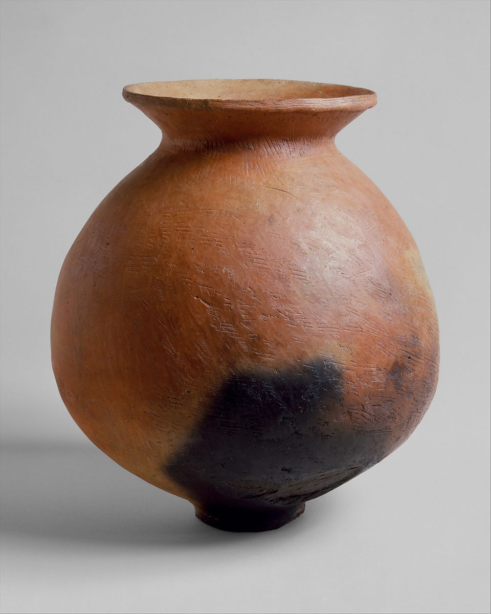 Jar, Earthenware with incised decoration, Japan