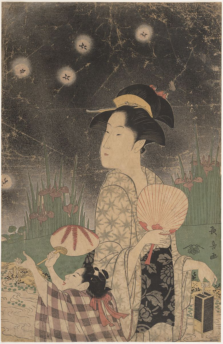Eishōsai Chōki Woman And Child Catching Fireflies Japan Edo