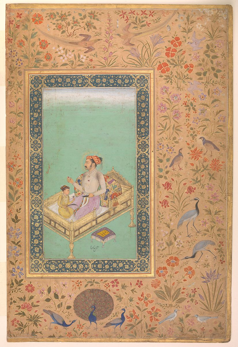"""The Emperor Shah Jahan with his Son Dara Shikoh"", Folio from the Shah Jahan Album, Painting by Nanha, Ink, opaque watercolor, and gold on paper