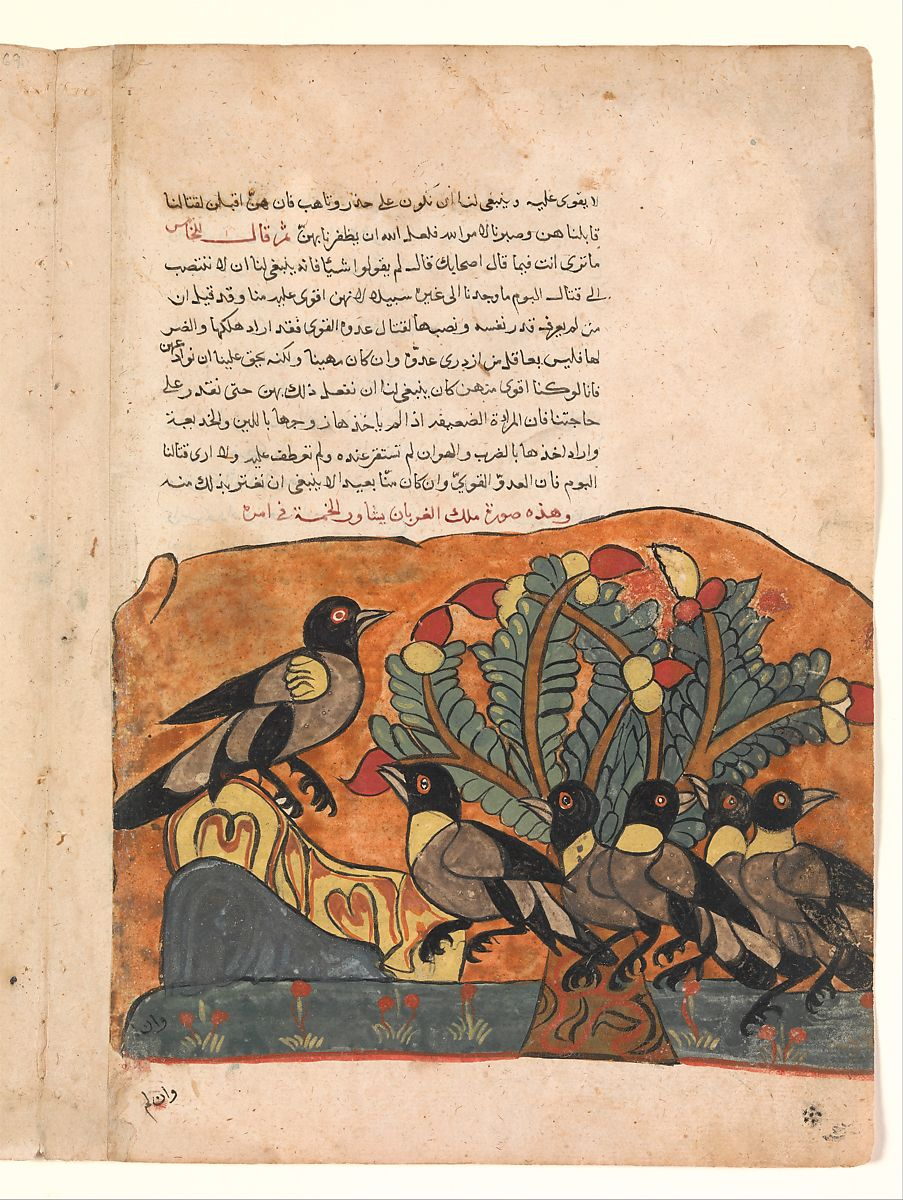 """""""The Crow King Consults his Ministers"""", Folio from a Kalila wa Dimna 