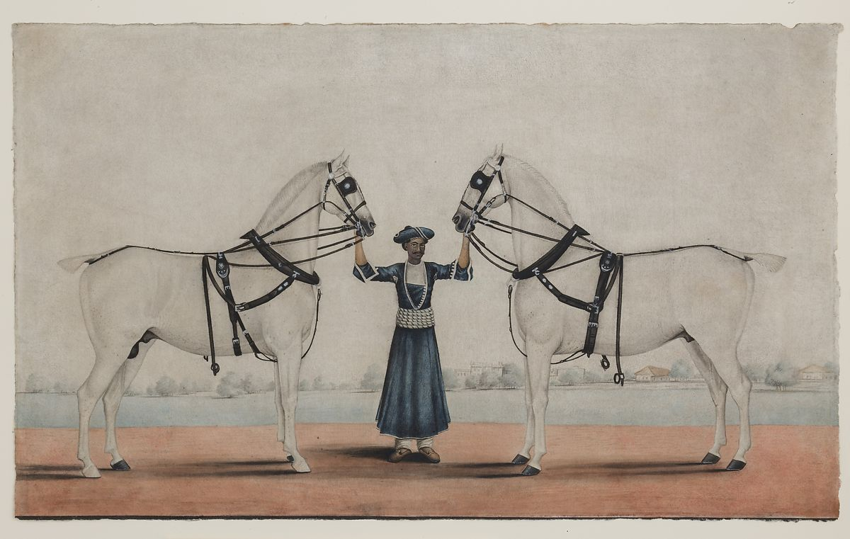 attributed to Shaikh Muhammad Amir of Karraya | A Syce (Groom) Holding Two Carriage Horses | The Met