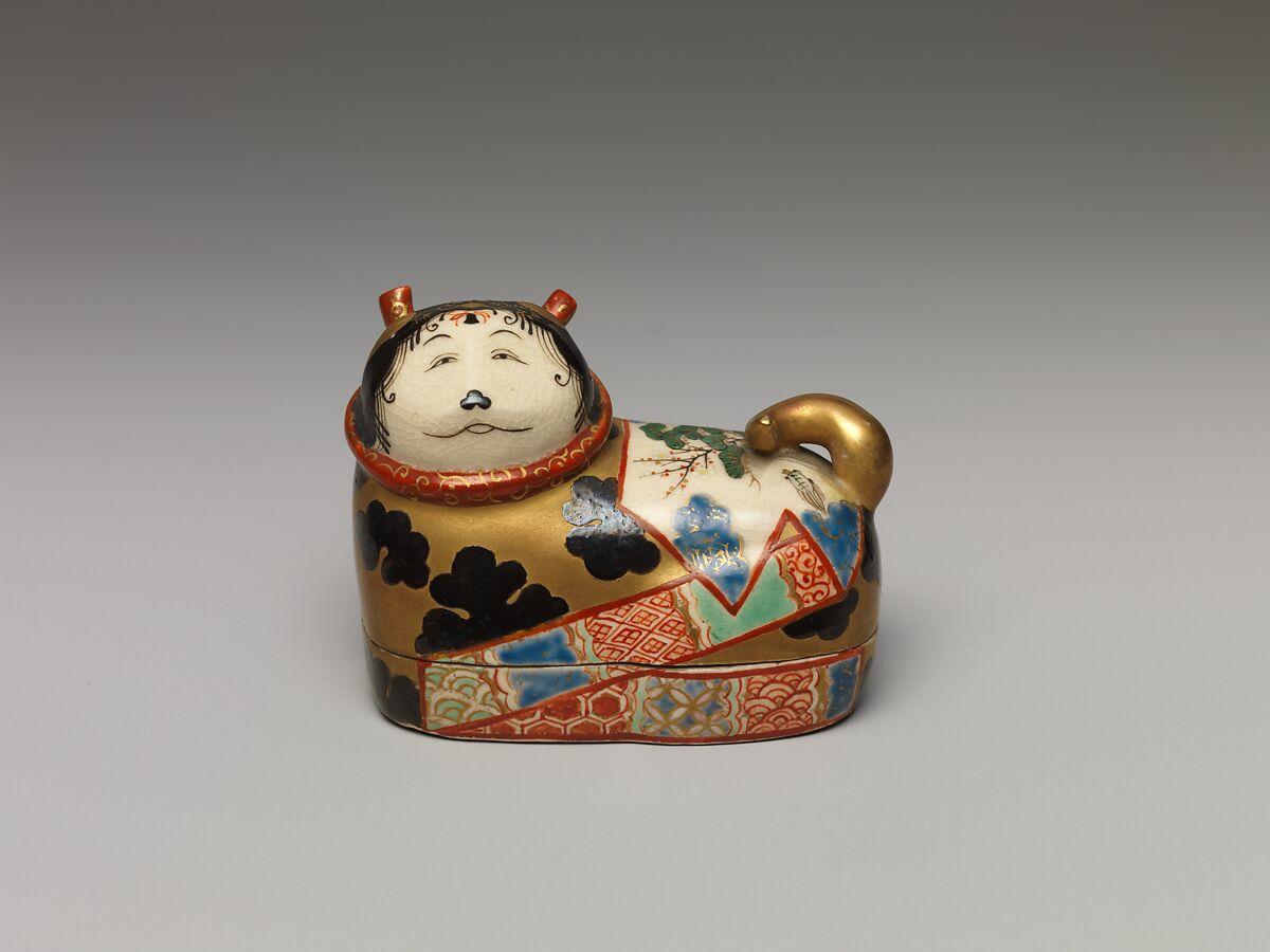 Caja para incienso japonesa, en forma de perro, fechada hacia 1840. Imagen: Metropolitan Museum of Art.