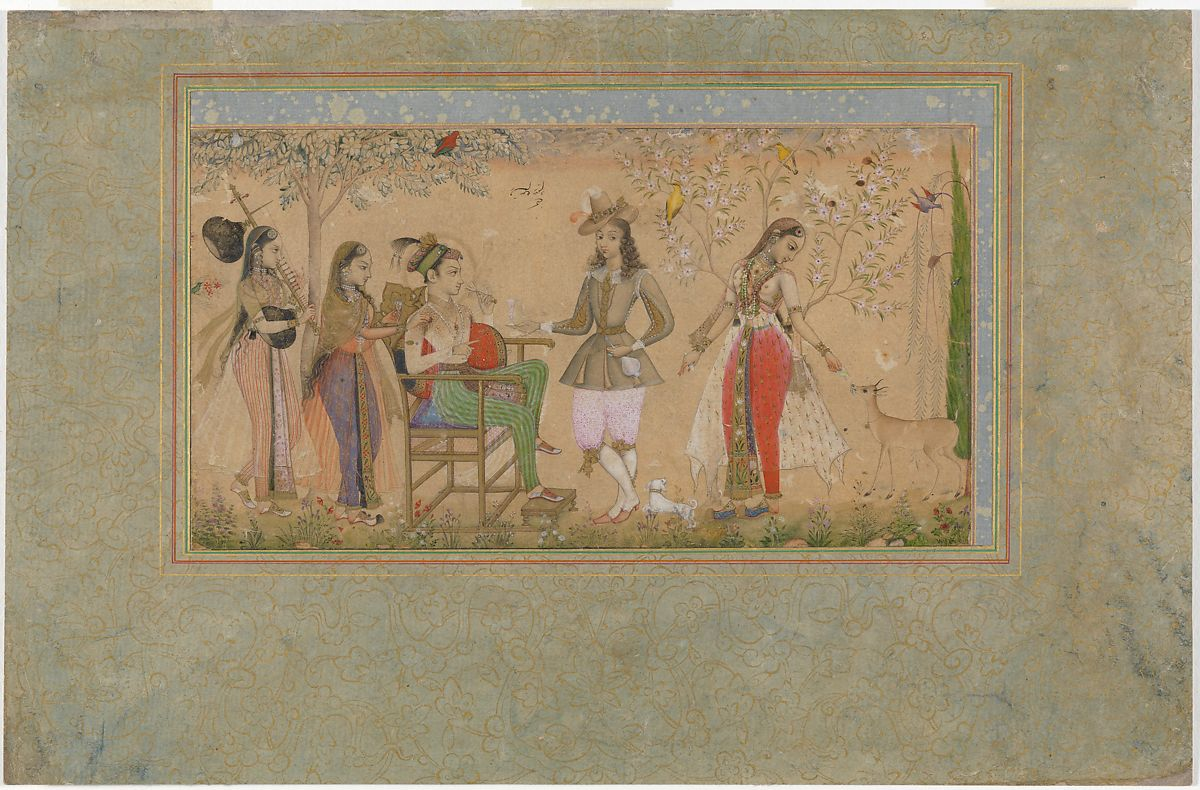 Painting by Rahim Deccani | Prince seated in a garden with ladies ...
