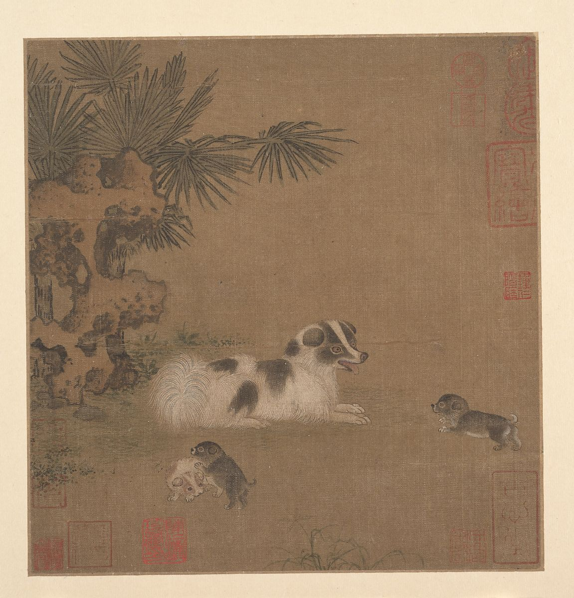 Unidentified Artist | Puppies Playing beside a Palm Tree and Garden ...