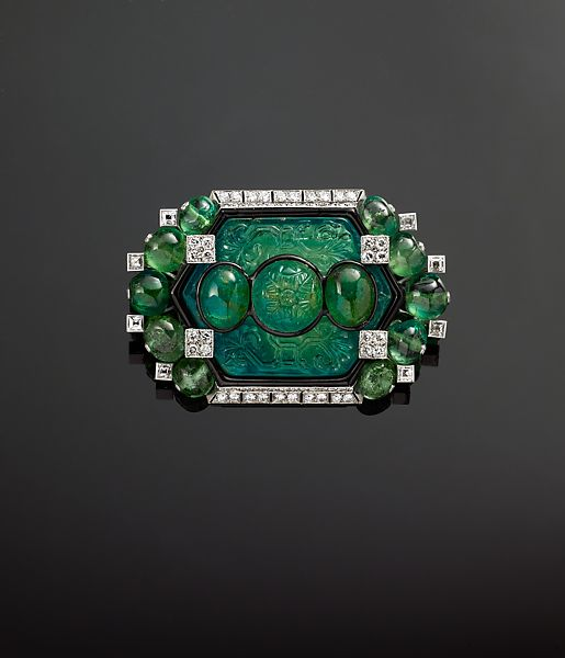 Cartier | Brooch with Carved Emeralds and Diamonds by ...