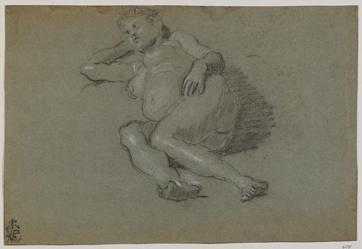Reclining Female Nude, Domenico Tintoretto (Italian, Venice 1560–1635 Venice), Black and white chalk on blue paper.
