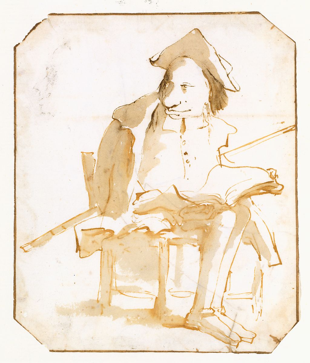 Giovanni Battista Tiepolo | Caricature of a Seated Man with a Book and a  Cane | The Metropolitan Museum of Art