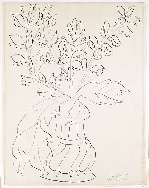Henri Matisse Vase Of Flowers Fleurs Et Feuilles Dacanthe Dans