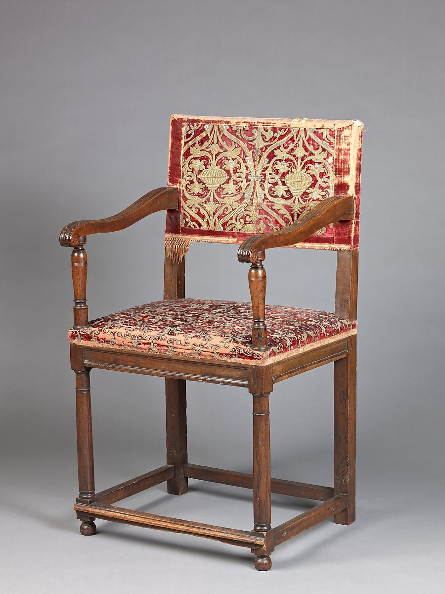 Armchair (chaise à Bras), Walnut, Carved And Turned; Upholstered With  Various
