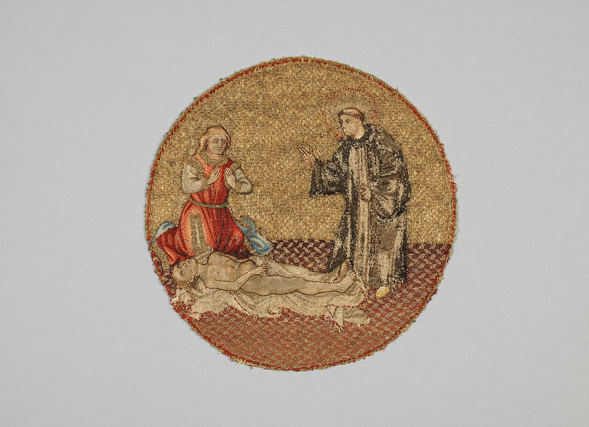 Saint Martin Brings a Dead Man to Life, Linen plain weave underlaid with linen plain weave and embroidered with silk and gilt-metal-strip-wrapped silk in split and stem stitches, laid work, and couching, including or nué, Flemish