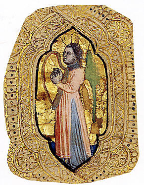 Angel with Harp, Cristoforo Cortese (Italian, Venice, active ca. 1390, died before 1445), Tempera and gold on parchment, the gold filigree decoration applied on brownish gray bole.