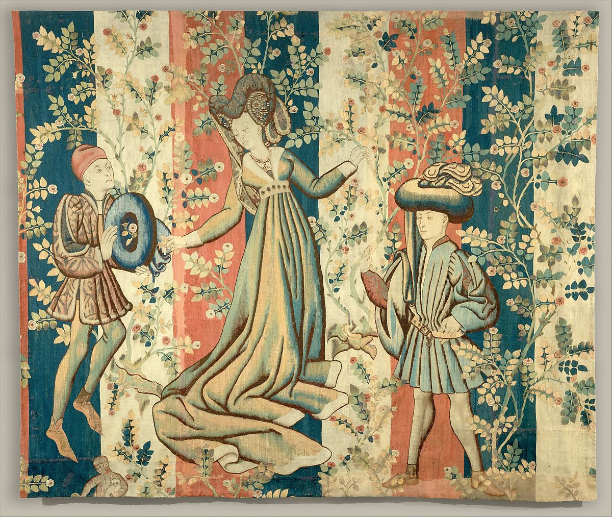 Courtiers In A Rose Garden: A Lady And Two Gentlemen, Wool Warp; Wool