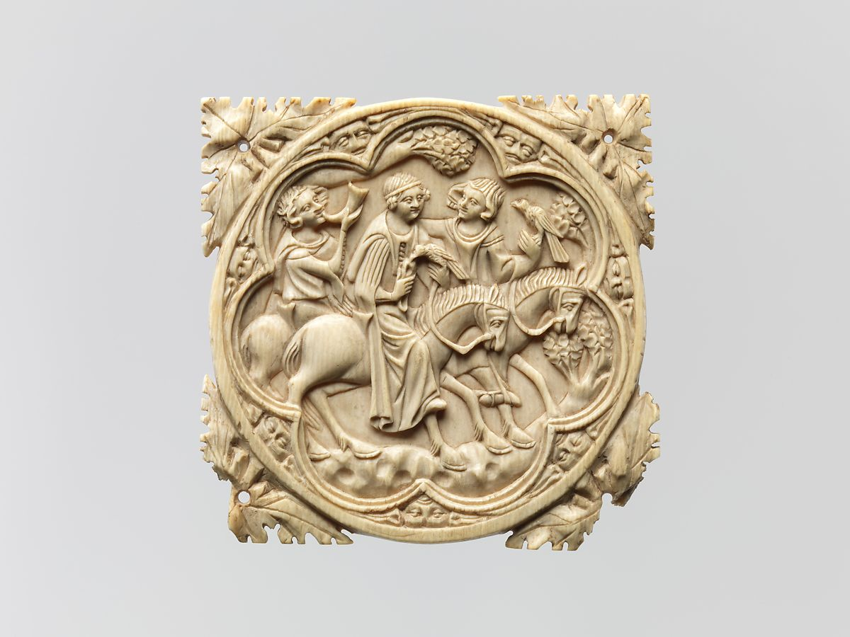 Carved ivory mirror case showing nobleman and woman and servant on horseback
