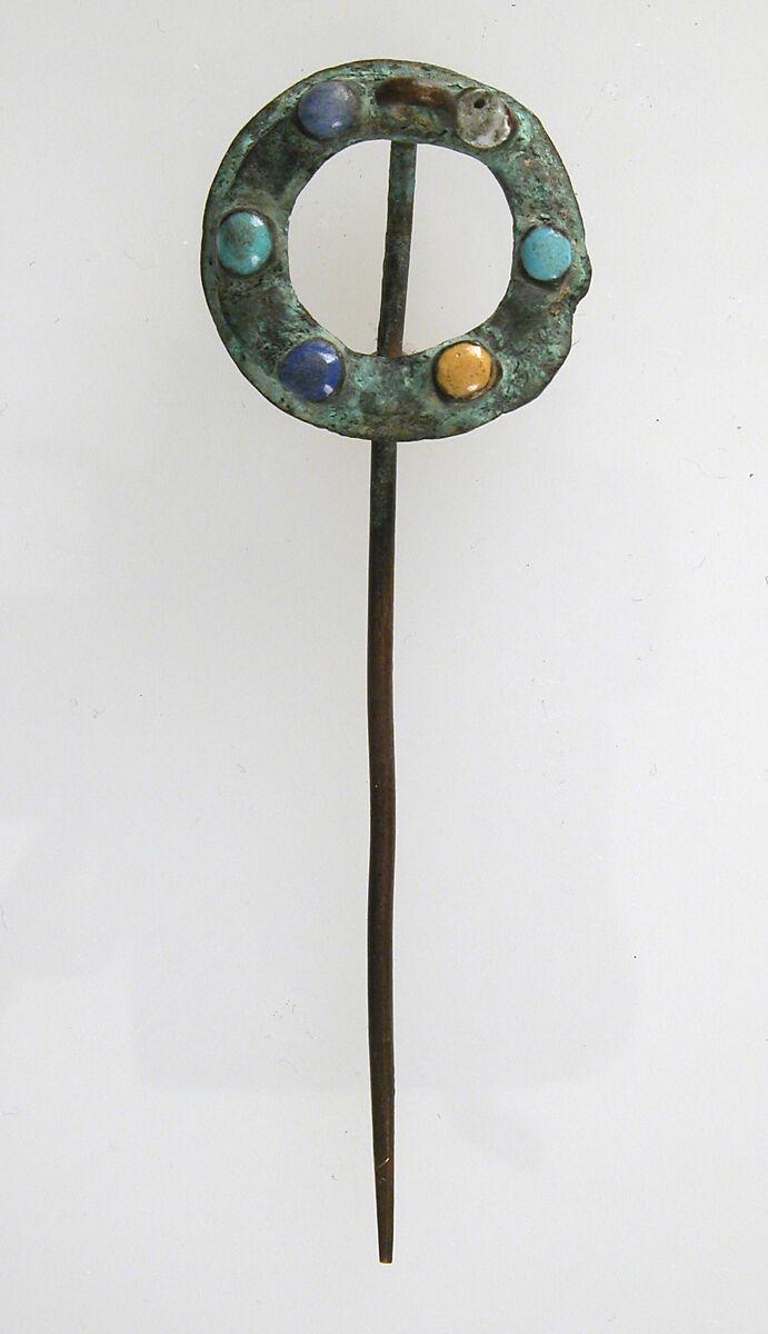 Pin, Copper alloy, glass cabochon, Late Roman