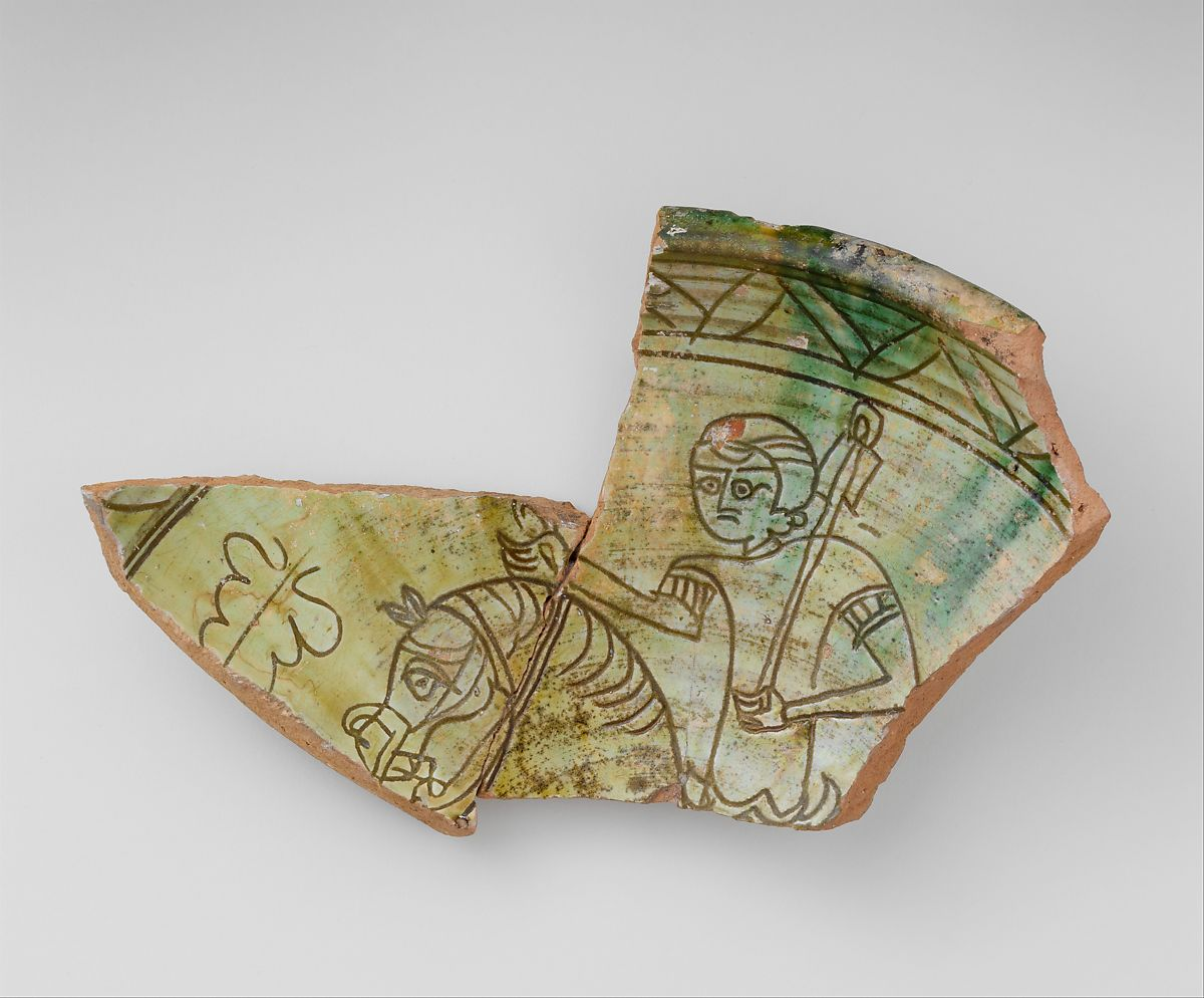 Fragment of a Bowl with a Horse and Rider   Byzantine   The Met