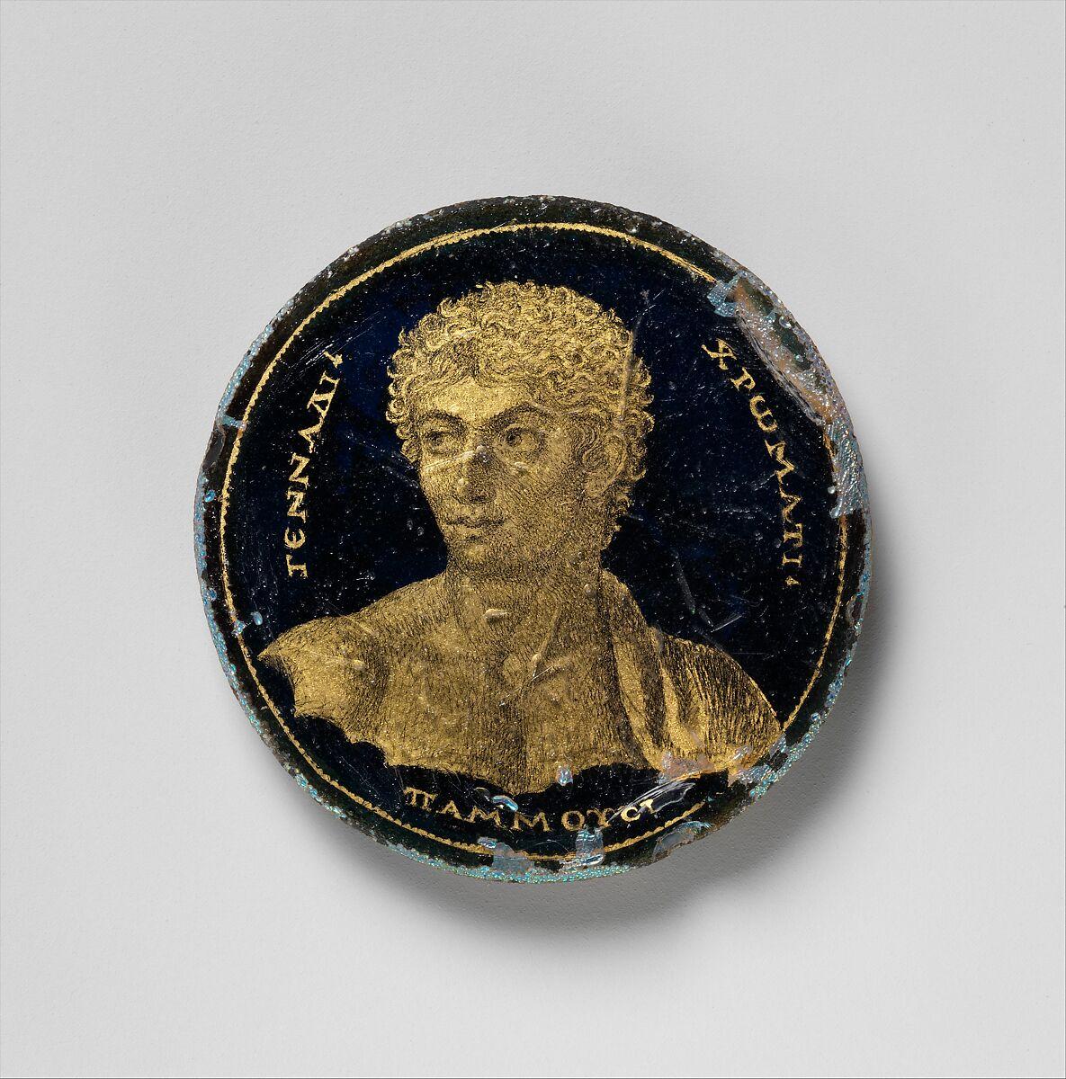 Medallion with a Portrait of Gennadios, Glass, gold leaf, polychromy, Roman