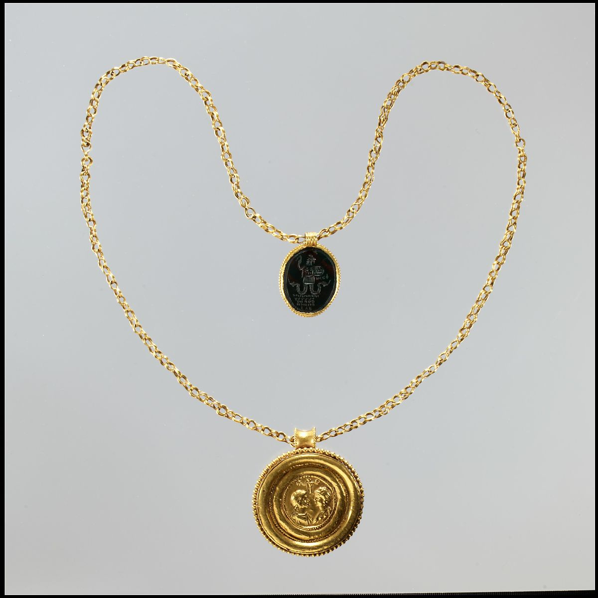 Necklace with Gold Marriage Medallion and Hematite Amulet, Gold, hematite, Byzantine