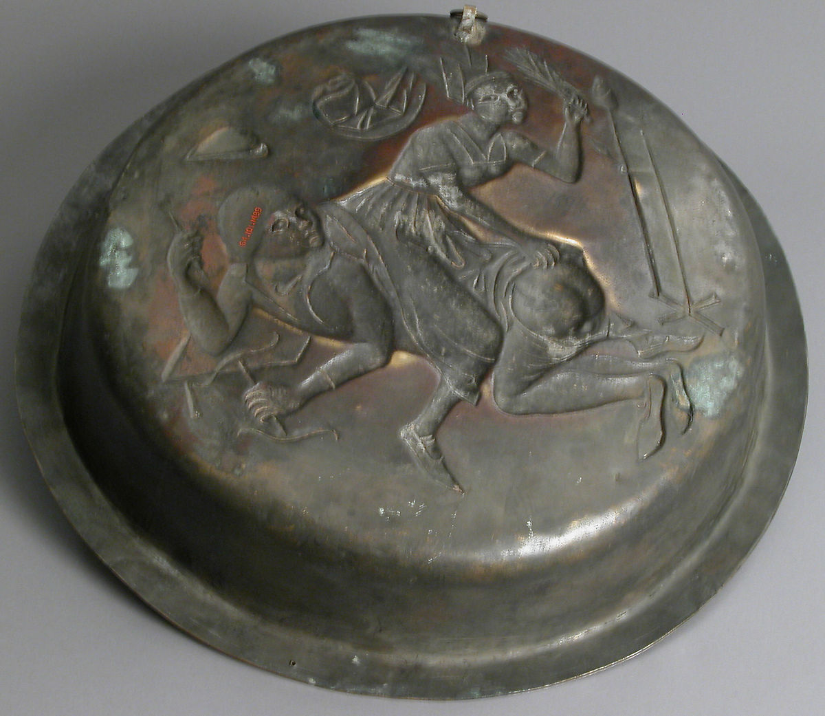 Plate with Wife Beating Husband, Copper alloy, wrought, Netherlandish