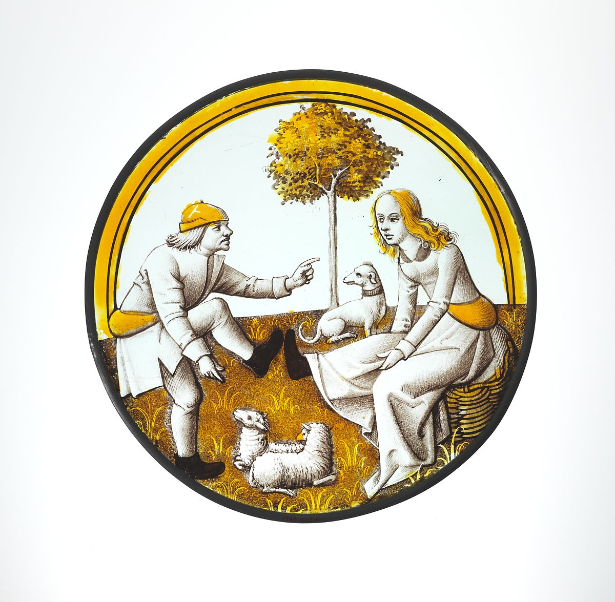 Roundel with Playing at Quintain, Colorless glass, vitreous paint and silver stain, French